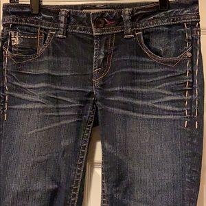 MEK Jeans, darker/distressed wash, Size 27